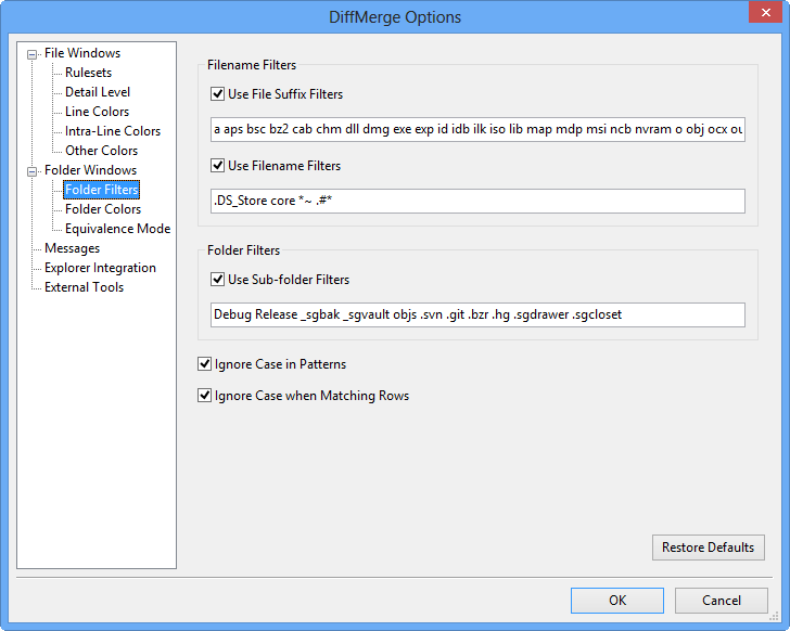 The Folder Filters Page - - SourceGear DiffMerge