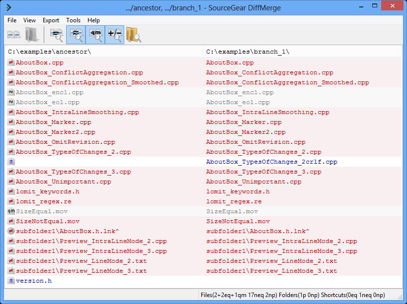 The Folder Diff Window - - SourceGear DiffMerge